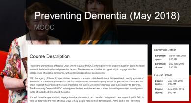 Preventing dementia MOOC 2018
